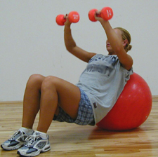 Dumbbells on Swiss Ball