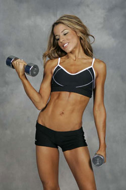 healthy woman with weights